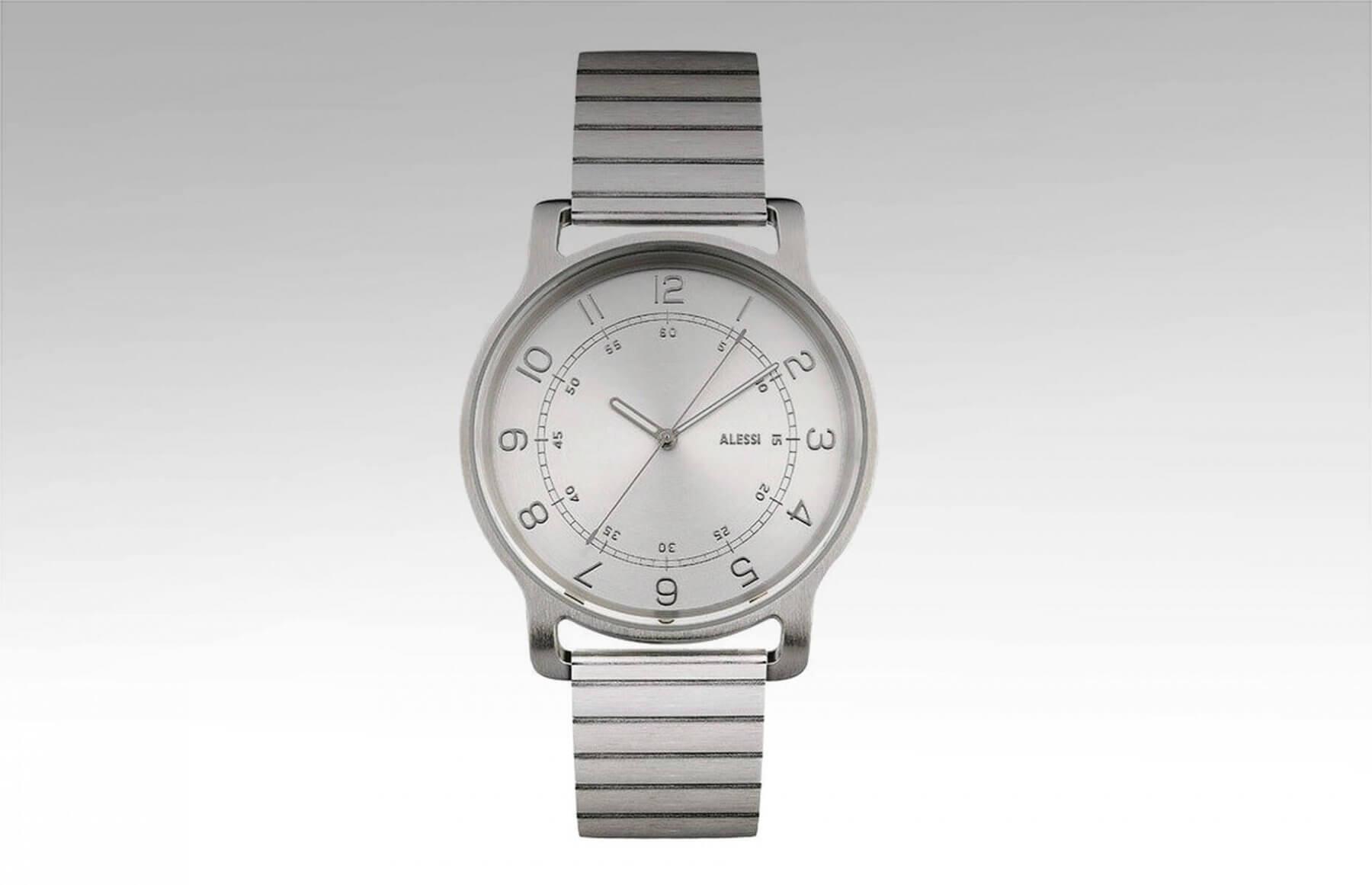Alessi l'orologio ze stalową bransoletą