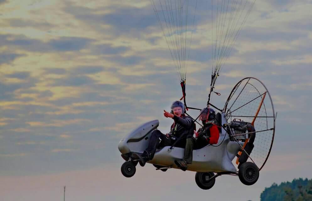 Lot motoparalotnią w tandemie - rozlewiska Warty