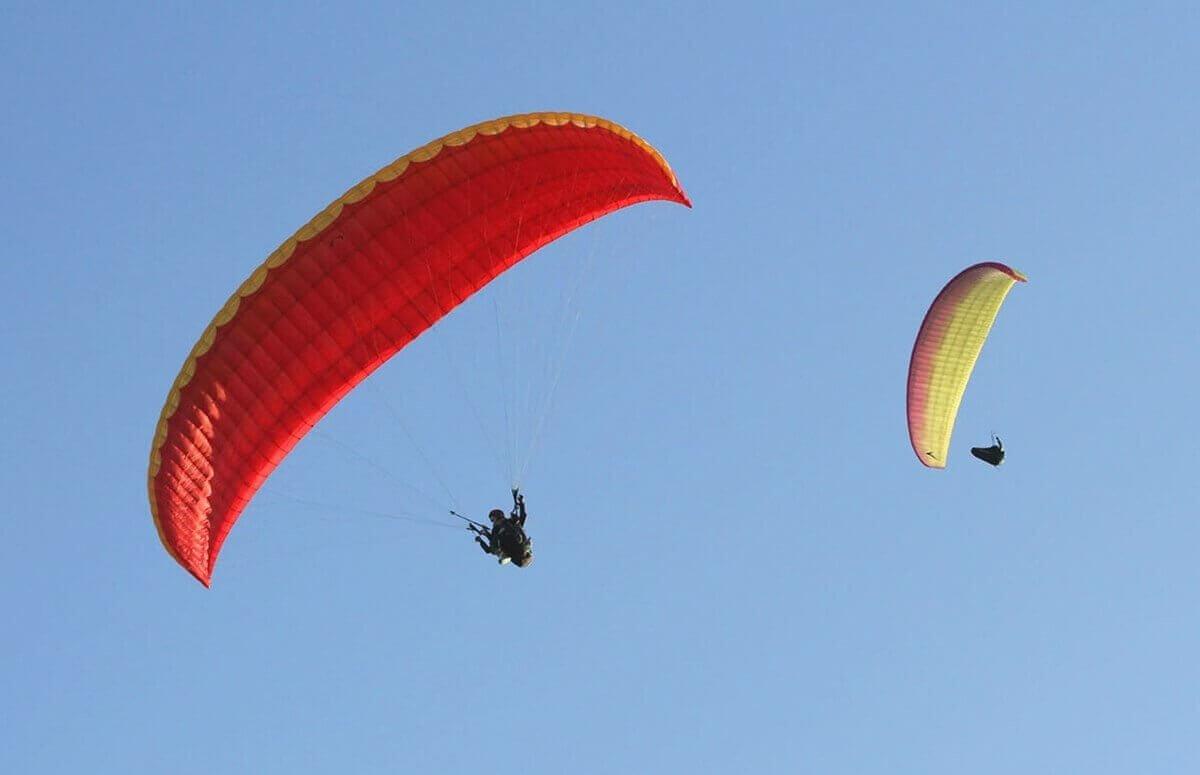 Lot akrobatyczny paralotnią nad Jeziorem Wdzydze