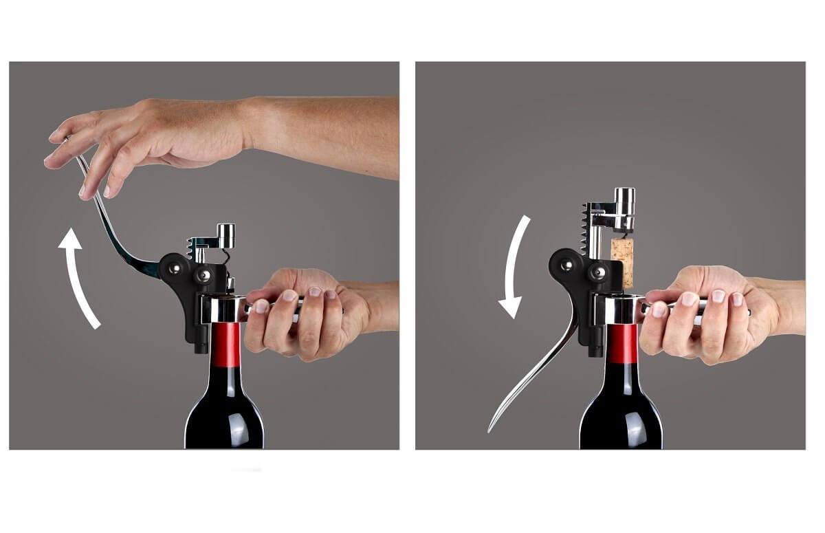 Korkociąg do wina dźwigniowy poziomy | Vacu Vin