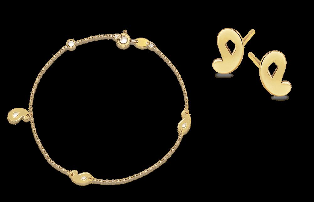 34327c15dd7f8 Komplet złotej biżuterii: bransoletka i kolczyki   YES