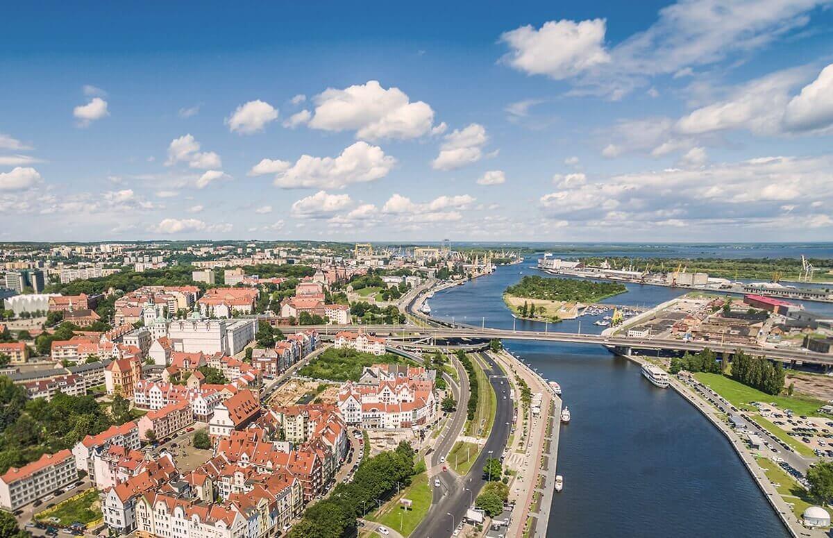 Szczecin widziany z lotu ptaka