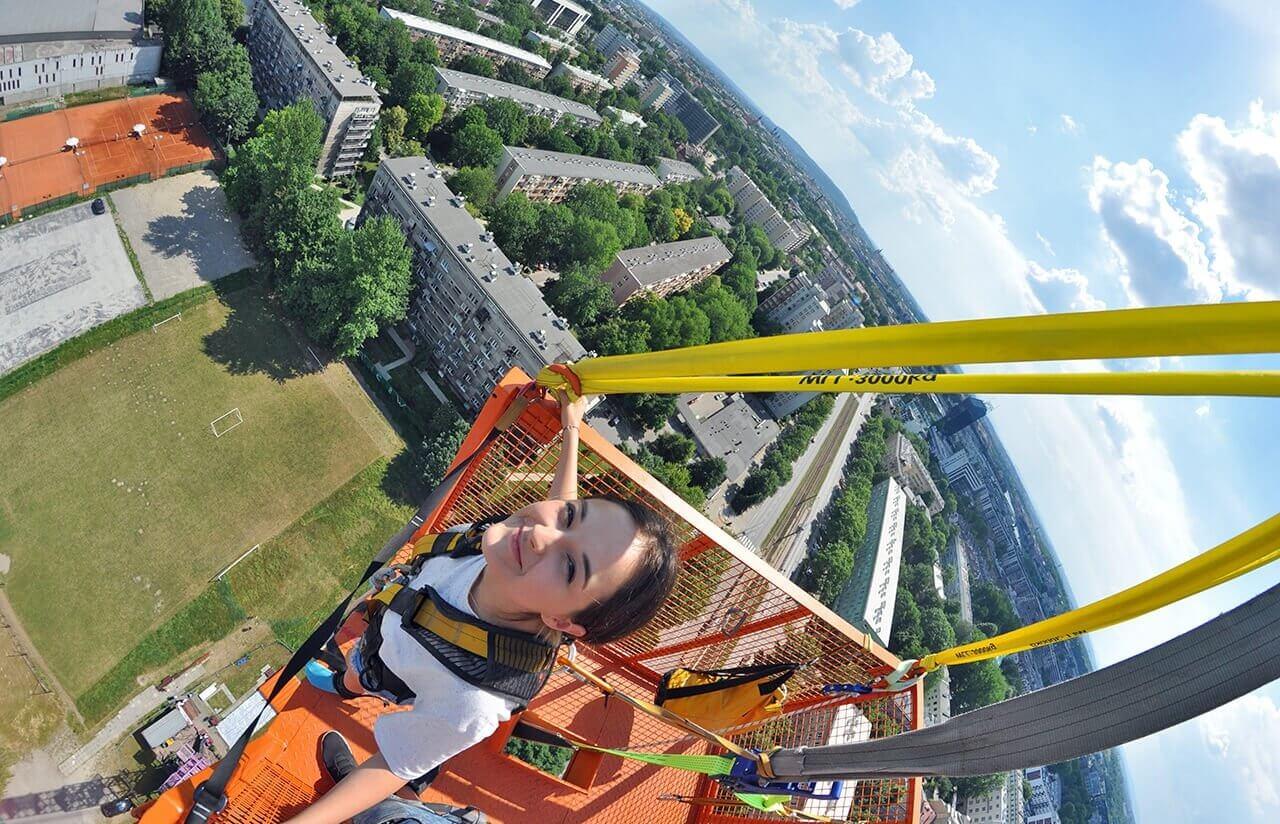 Widok z góry przed skokiem na bungee
