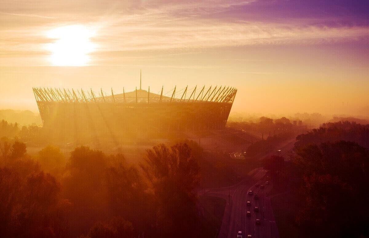 Stadion Narodowy w Warszawie widziany z lotu ptaka