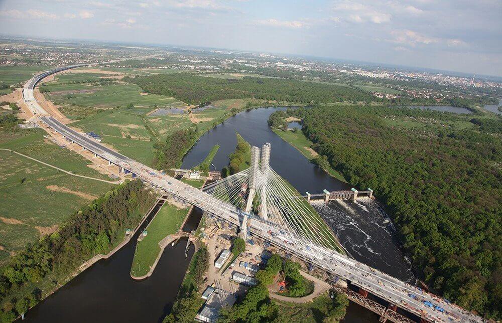 Lot nad Wrocławiem Most Rędziński