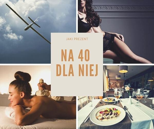 Kolaż zdjęć z propozycjami prezentów na 40 dla kobiety