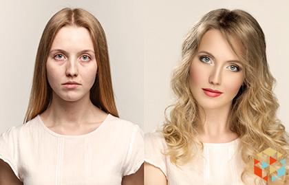 Kobieta przed i po metamorfozie wizerunku