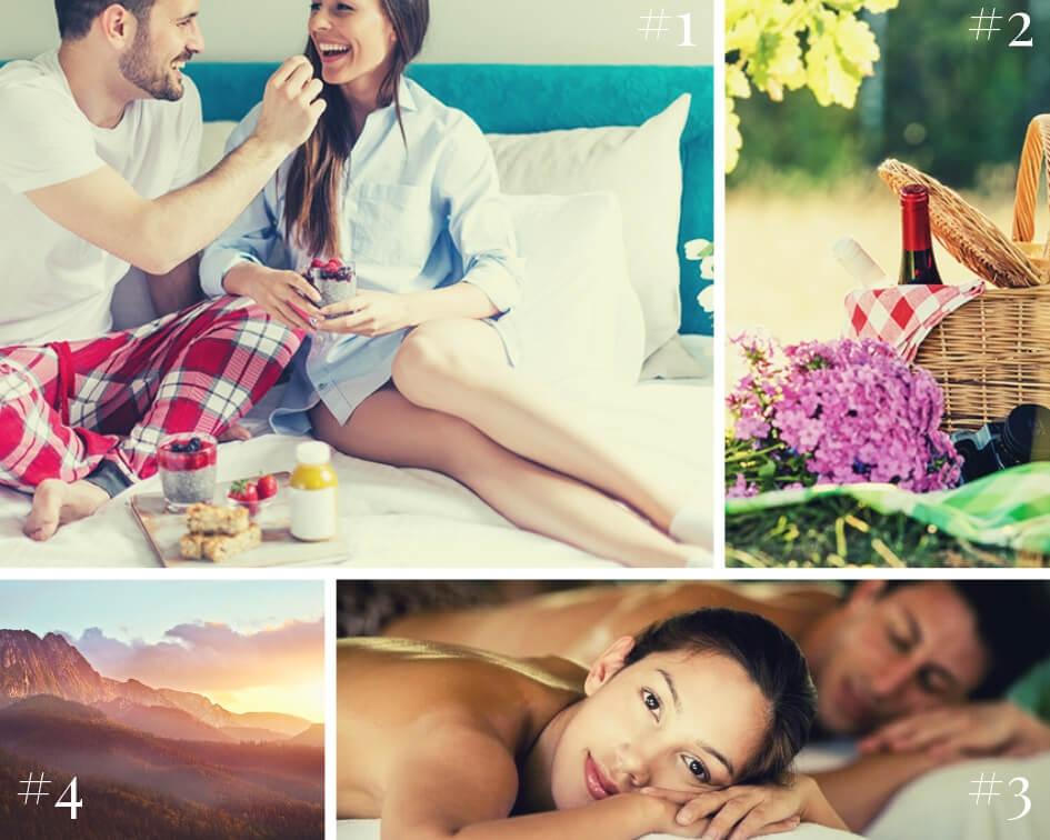 Najbardziej romantyczne miejsca na rocznicę ślubu - kolaż zdjęć