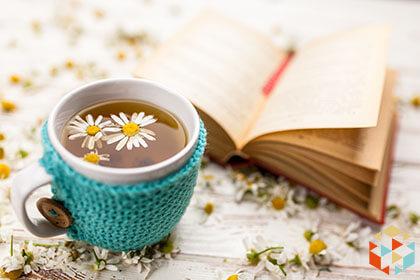 Herbata rumiankowa i książka