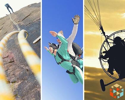 Kolaż zdjęć: wspinaczka, lot motoparalotnią i skok ze spadochronem